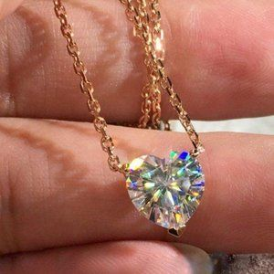 NEW 3CT 18K Rose Gold Diamond Heart Necklace